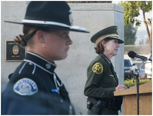 Sheriff Sandra Hutchens speaks at the 2016 Orange County Peace Officers' Memorial Ceremony. Photo provided by Miguel Vasconcellos.