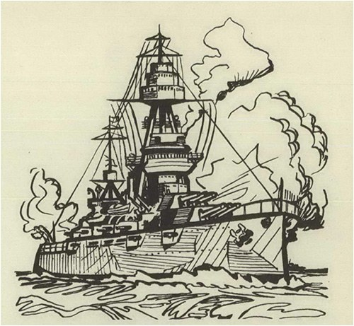 "Sketch of a ship to correspond with this text: ""Our nation was engaged in a great military conflict in the year 1942. American military pride was given a series of rude shocks as our forces were shoved off island after island in the Pacific. The chief defeat was the collapse of Bataan after a hopeless, heroic stand by last-ditch defenders on Corregidor. Relief from a long series of setbacks came in May when our Naval fleet defeated a Japanese armada in the battle of the Coral Sea, and again in June when our torpedo bombers routed an enemy task force in the Battle of Midway."""