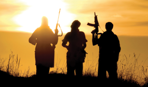 Radical Islamist terrorists before a sunset. © shutterstock.com