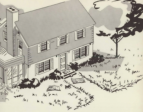 A drawn representation of a suburban residence.