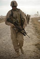 Soldier Walking with Gun