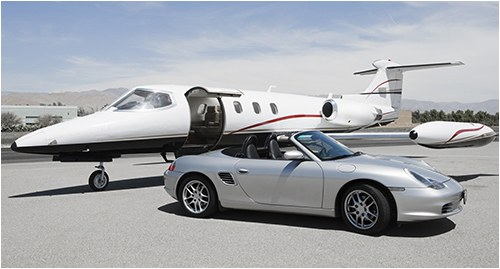 Sports Car and Jet Airplane
