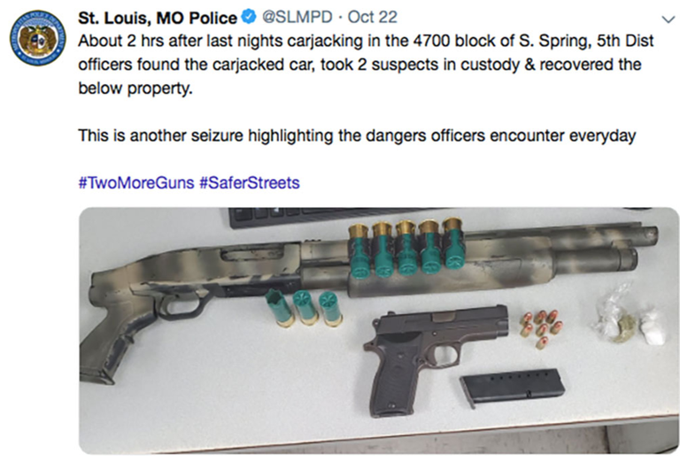 St. Louis, Missouri, Police Department tweet regarding the capture of two carjack suspects and the recovery of the vehicle and several dangerous weapons.