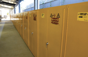 Flammable materials are safely housed in these specialized cabinets in the Houston, Texas, Police Department.