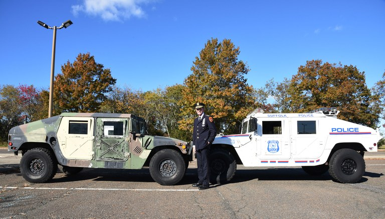 A photo provided by Chief Cameron of a two Suffolk County police military vehicles.