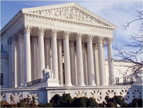 The front of the Supreme Court building in Washington, D.C.