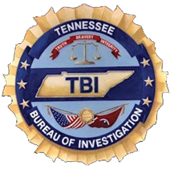 """The patch of the Tennessee Bureau of Investigation (TBI) depicts the agency's seal. The judicial scales at the top are a reminder of TBI's work to restore justice through investigation. The abbreviation of TBI within the central outline of Tennessee represents the agency's statewide mandate, as well as its motto of """"Truth, Bravery, Integrity."""" At the bottom, the flags of Tennessee and the United States are linked to show the necessary interdependence of TBI's work with other states and federal agencies."""