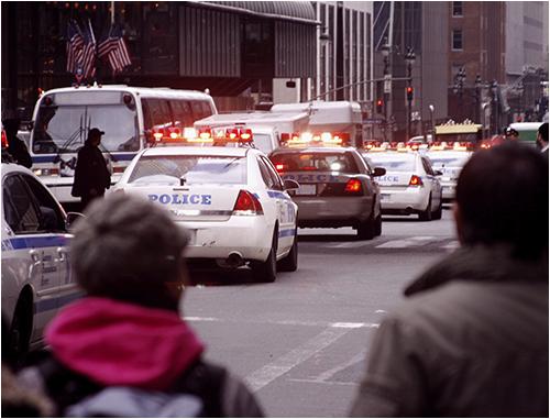 Police Cars on a City Street