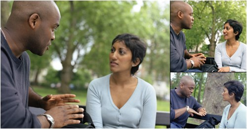 A series of three images of a man and woman having a conversation on a park bench. © Thinkstock.com.