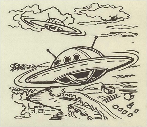 "Sketch of flying saucers to correspond with this text: ""1952—this was the year of flying saucers. Unidentified objects, which appeared to be luminous disks or saucers, were reported flashing across the night skies all over the nation. There was wide-spread conjecture that these objects were manned by emissaries from outer space, a theory unsupported by official spokesmen."""