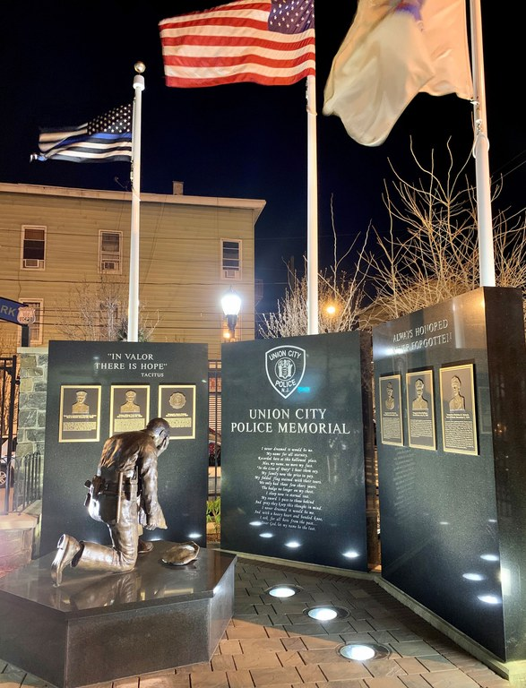 A night photo of the Union City, New Jersey, police memorial park.