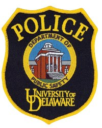 The University of Delaware, in the city of Newark, was established in 1743. The patch of its police department depicts Memorial Hall, erected by citizens as the state's World War I memorial and listed on the National Register of Historic Sites. It served as the university library from 1924 to 1963 and now houses the Department of English.