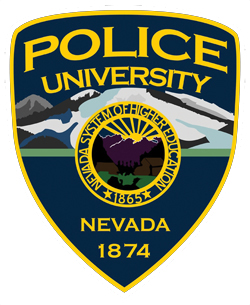 The background of the University of Nevada, Reno, Police Service's patch represents Truckee Meadows, a high desert valley at the foot of the Sierra Nevada Mountains. The state seal, in the center, depicts a partial sunrise behind a mountain range and includes symbols representing the state's natural resources and heritage of mining and agriculture. The bottom of the patch features the year of the university's founding.