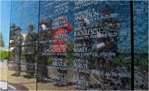 The Washington State Law Enforcement Memorial was dedicated in May 2006. With the engraving of the names of Washington's fallen officers, the memorial has taken on a life of its own. Each name engraved represents a person who lived, had family and friends, and swore to protect communities throughout the state.