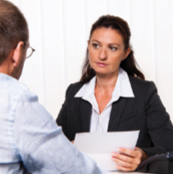 Woman Meeting with Coworker (Stock Image)