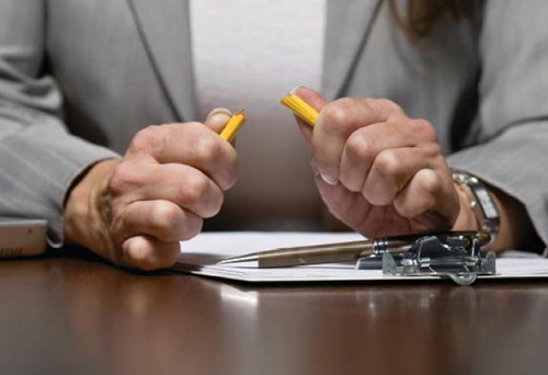 Woman With Broken Pencil (Stock Image)