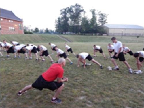 Youth Exercising at Camp Cadet